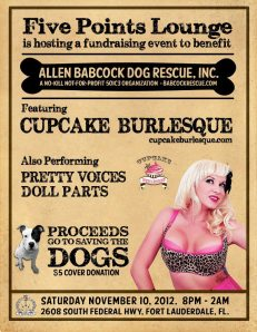Allen Babcock Dog Rescue benefit, starring Cupcake Burlesque