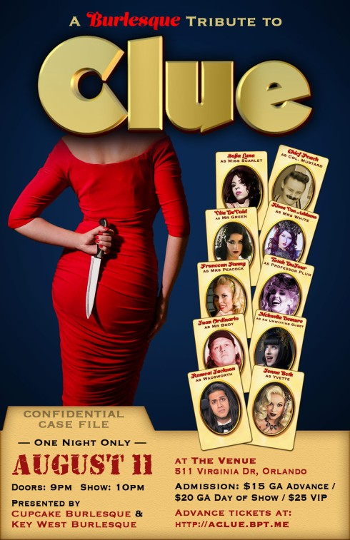 Clue murder mystery burlesque tribute